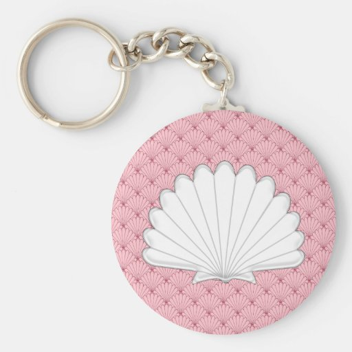 Beautiful Coral Peach Scallop Shell Repeating Patt Key Chain