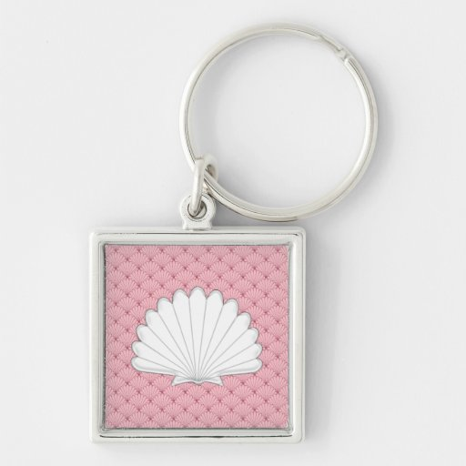 Beautiful Coral Peach Scallop Shell Repeating Patt Key Chains