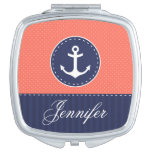Beautiful Coral Pink Navy Blue Anchor Personalized Makeup Mirror