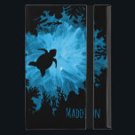 "Beautiful Coral Reef Turtle Shadow Black Blue Cover For iPad Mini<br><div class=""desc"">This trendy iPad mini case or cover for women features an upwards view,  casting a black shadow of a coral reef and a turtle against the sun shining through the water. The water in the background is painted in.</div>"