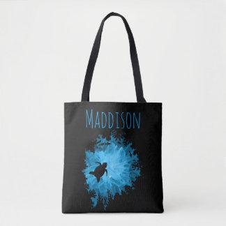 Beautiful Coral Reef Turtle Shadow Black Blue Tote Bag