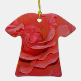 Beautiful coral rose blossoms christmas ornament