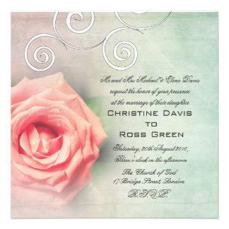 Beautiful coral rose vintage wedding invite