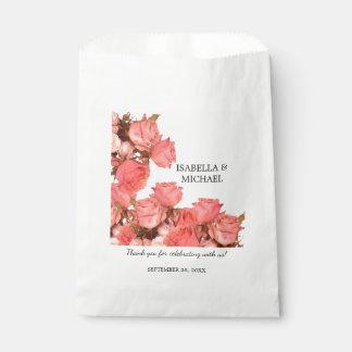 Beautiful Coral Rose Wedding Favor Bag