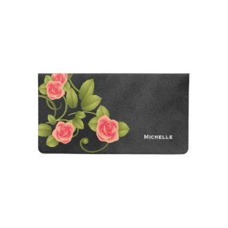 Beautiful Coral Roses on Chalkboard Background Checkbook Cover