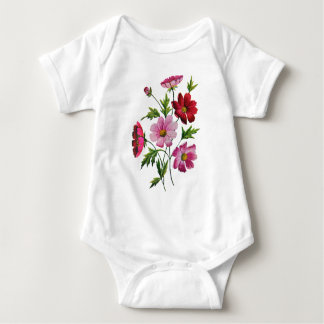 Beautiful Cosmos Flowers in Crewel Embroidery Baby Bodysuit