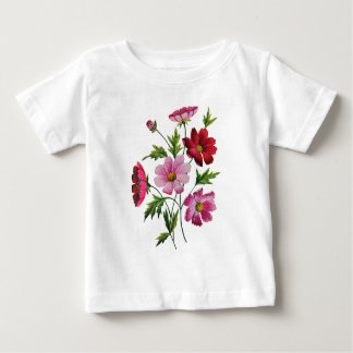 Beautiful Cosmos Flowers in Crewel Embroidery Baby T-Shirt