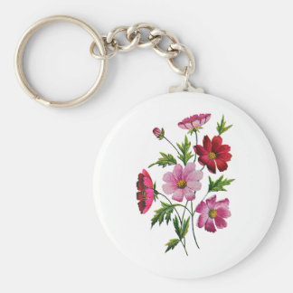 Beautiful Cosmos Flowers in Crewel Embroidery Basic Round Button Keychain