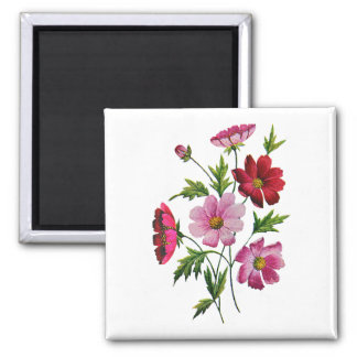 Beautiful Cosmos Flowers in Crewel Embroidery Magnet