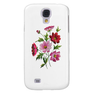 Beautiful Cosmos Flowers in Crewel Embroidery Samsung S4 Case
