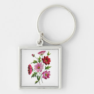 Beautiful Cosmos Flowers in Crewel Embroidery Silver-Colored Square Keychain