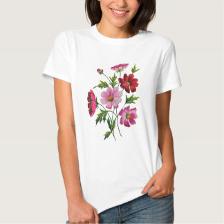 Beautiful Cosmos Flowers in Crewel Embroidery Tee Shirt