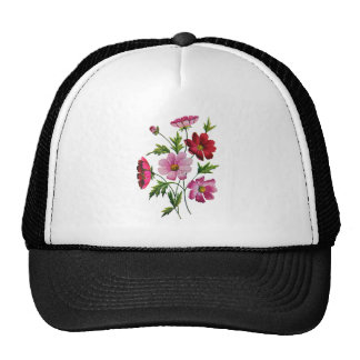 Beautiful Cosmos Flowers in Crewel Embroidery Trucker Hat