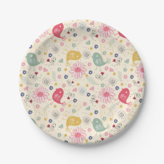 Beautiful Country Birds 7 Inch Paper Plate