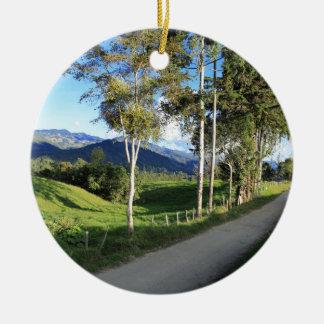 Beautiful country road Salento Colombia Ceramic Ornament