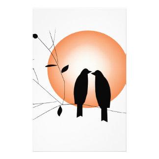 Beautiful couple love birds stationery