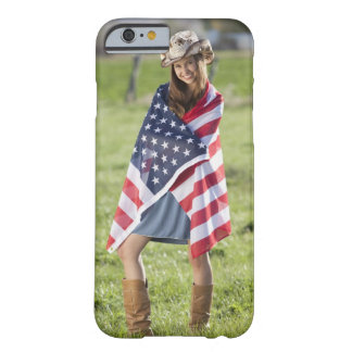 Beautiful cowgirl wrapped in American flag Barely There iPhone 6 Case