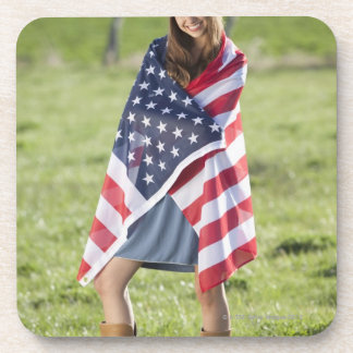 Beautiful cowgirl wrapped in American flag Beverage Coaster