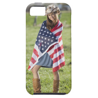Beautiful cowgirl wrapped in American flag iPhone SE/5/5s Case