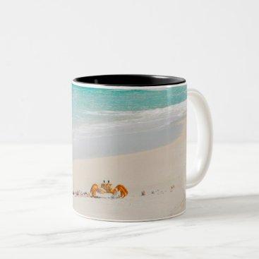 Beach Themed Beautiful Crab On The Beach Two-Tone Coffee Mug