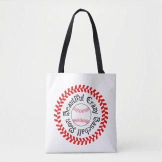 Beautiful Crazy Baseball Mom Tote Bag