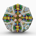 """Beautiful Cross Shaped Stained Glass Inspirational Acrylic Award<br><div class=""""desc"""">Photomanipulation created this artistic design.</div>"""