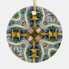 Beautiful Cross Shaped Stained Glass Inspirational Ceramic Ornament at Zazzle
