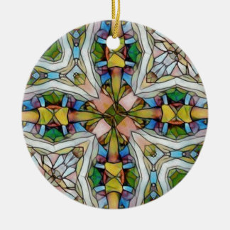 Beautiful Cross Shaped Stained Glass Inspirational Ceramic Ornament