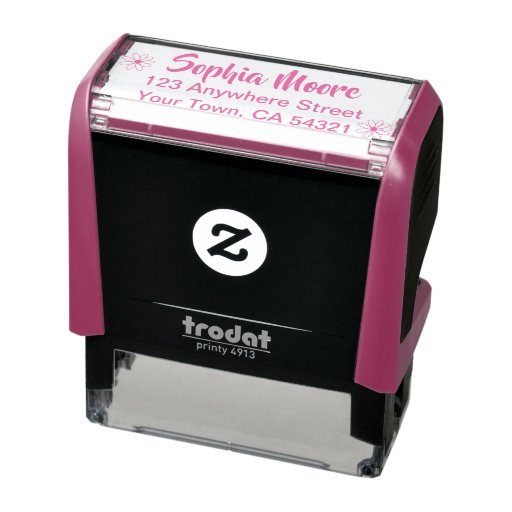 Beautiful Custom Name Return Address Self-inking Stamp