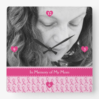 Beautiful Custom Pink Ribbon Memorial Square Wallclocks