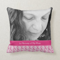 Beautiful Custom Pink Ribbon Memorial Throw Pillow