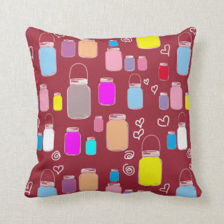Beautiful Cute Colorful Mason Jars Maroon Throw Pillow