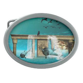 Beautiful, cute dolphins belt buckle