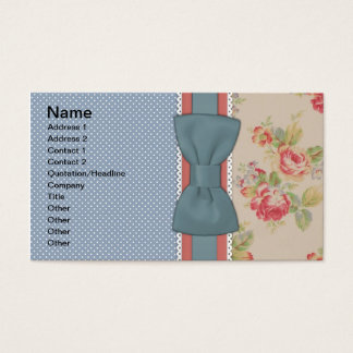 Beautiful cute elegant girly vintage flowers bow business card