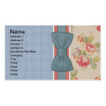 Beautiful cute elegant girly vintage flowers bow Double-Sided standard business cards (Pack of 100)