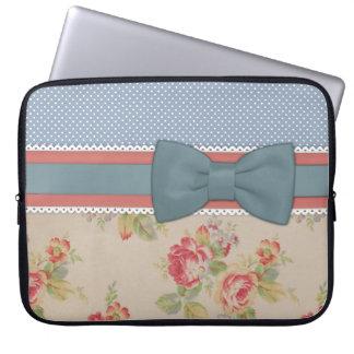 Beautiful cute elegant girly vintage flowers bow laptop computer sleeves