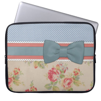 Beautiful cute elegant girly vintage flowers bow laptop sleeve
