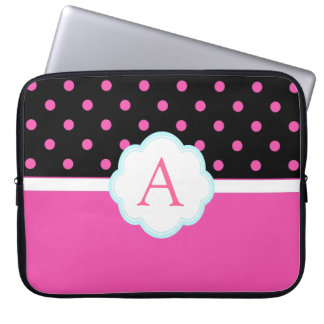 Beautiful cute, sweet pink and black polka dots laptop computer sleeve