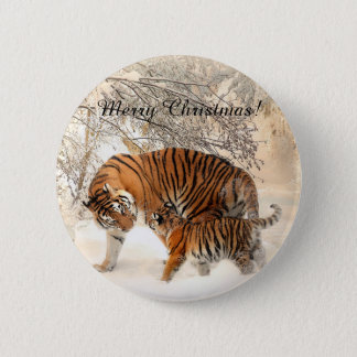 Beautiful, cute tiger baby with tiger mom button