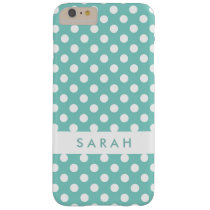 Beautiful Cute White Mint Green Polka Dots Barely There iPhone 6 Plus Case