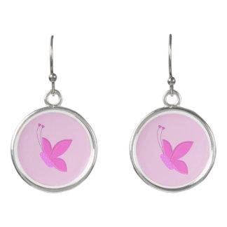 Beautiful Dainty Pink Butterflies Earrings