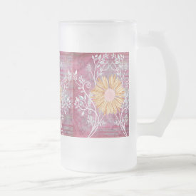 Beautiful Daisy Flower Distressed Floral Chic Frosted Beer Mug