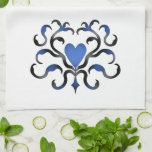 Beautiful damask motif with a heart in blue tone towels