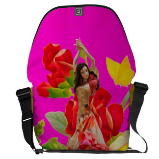 Beautiful Dancer Rose Garden Pink Courier Bag