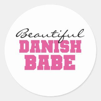 Beautiful Danish Babe Classic Round Sticker
