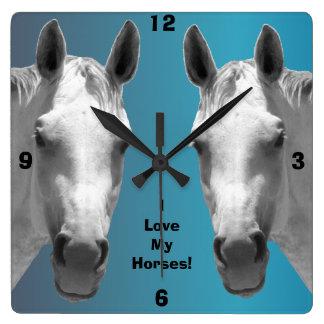 Beautiful Dapple Grey Horses Wall Clock