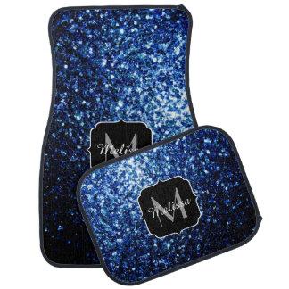 Beautiful Dark Blue glitter sparkles Monogram Car Mat