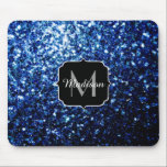 "Beautiful Dark Blue glitter sparkles Monogram Mouse Pad<br><div class=""desc"">Personalize sparkly mouse pad with your initial and name. Beautiful glamorous dark blue shiny glitters sparkles. Photo of blue sparkles not actual glitters!</div>"