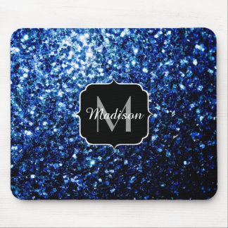 Beautiful Dark Blue glitter sparkles Monogram Mouse Pad