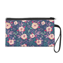 Beautiful Dark Floral Purple Pattern Wristlet Purse